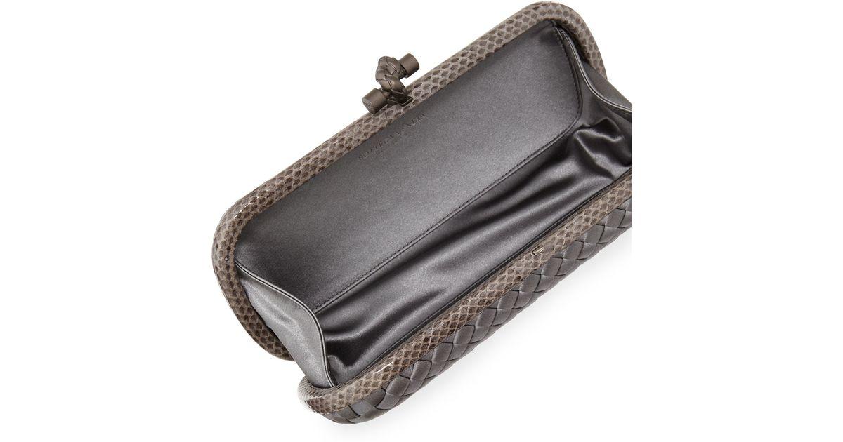 Lyst - Bottega Veneta Satin Elongated Knot Clutch Bag in Gray ab72536e410e3
