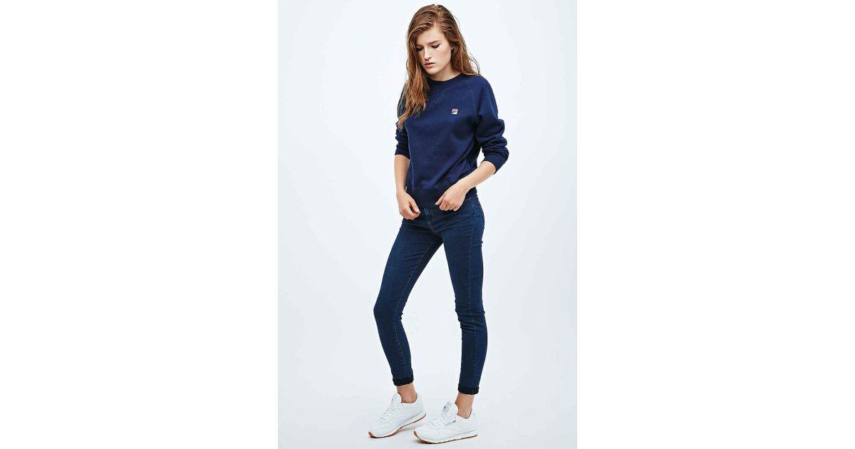 d7c46ac8 Fila Blue Shrunken Raglan Sweatshirt In Navy