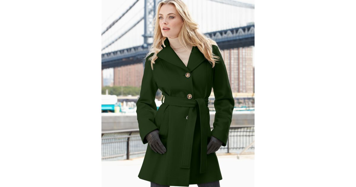 Michael kors Michael Hooded Belted Wool Blend Coat in Green   Lyst