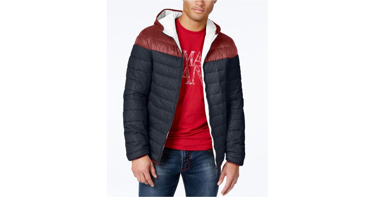 Armani Kleding.Armani Jeans Colorblock Puffer Coat Heren Kleding