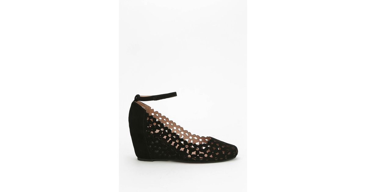 Jeffrey Campbell Black Daisy Ankle Strap Wedge Heel