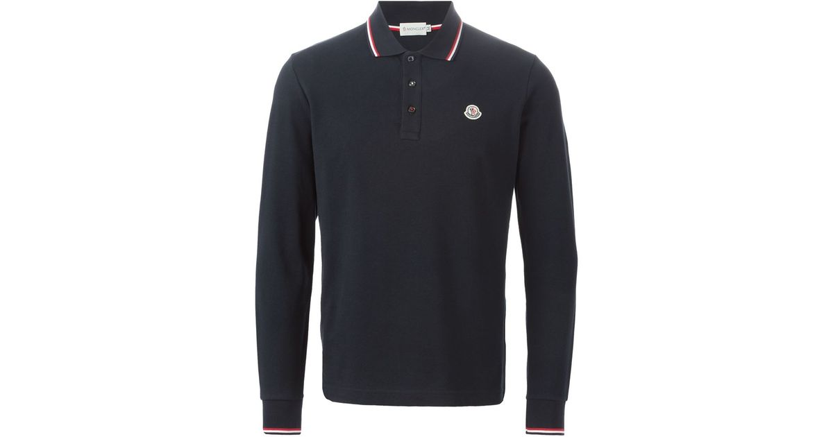 bd7648c9f Lyst - Moncler Long Sleeve Polo Shirt in Blue for Men