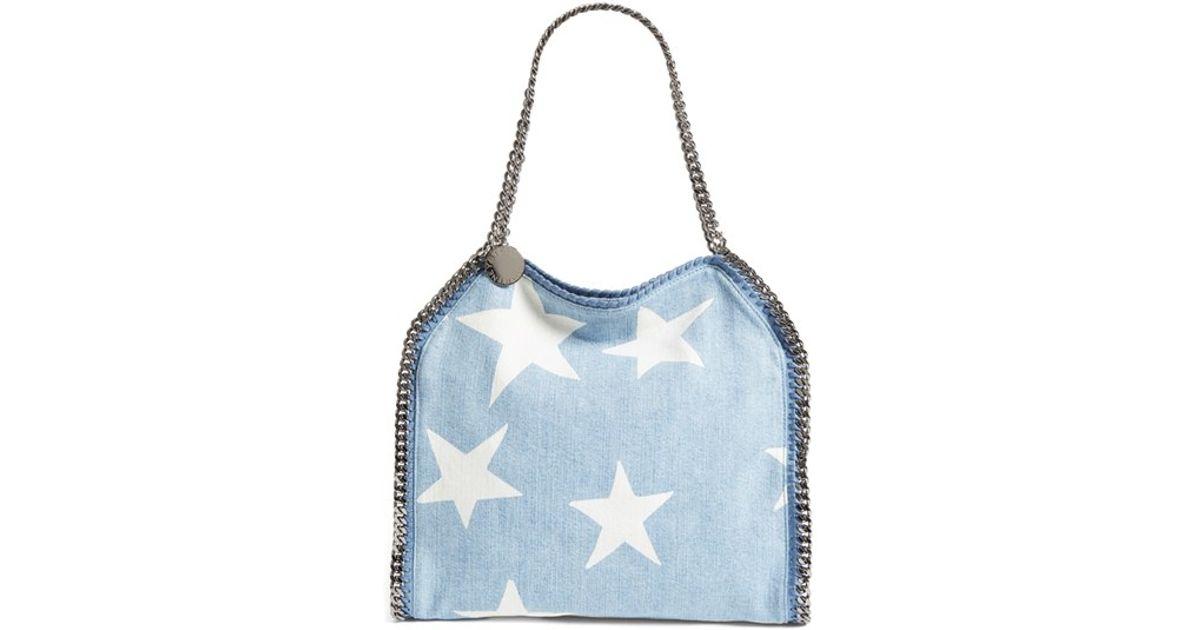 Lyst - Stella McCartney  small Falabella - Star  Embroidered Denim Tote in  Blue fee459bb9ec05