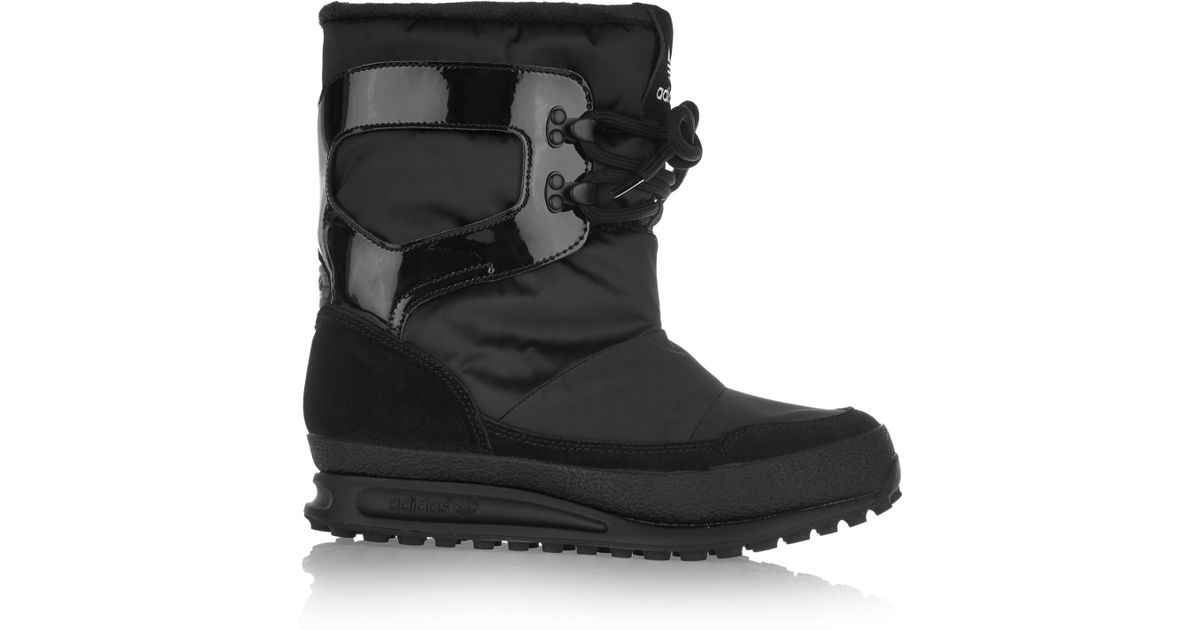 pretty nice 21761 829a6 adidas Originals Snowrush Shell, Patent-leather And Suede Snow Boots in  Black - Lyst