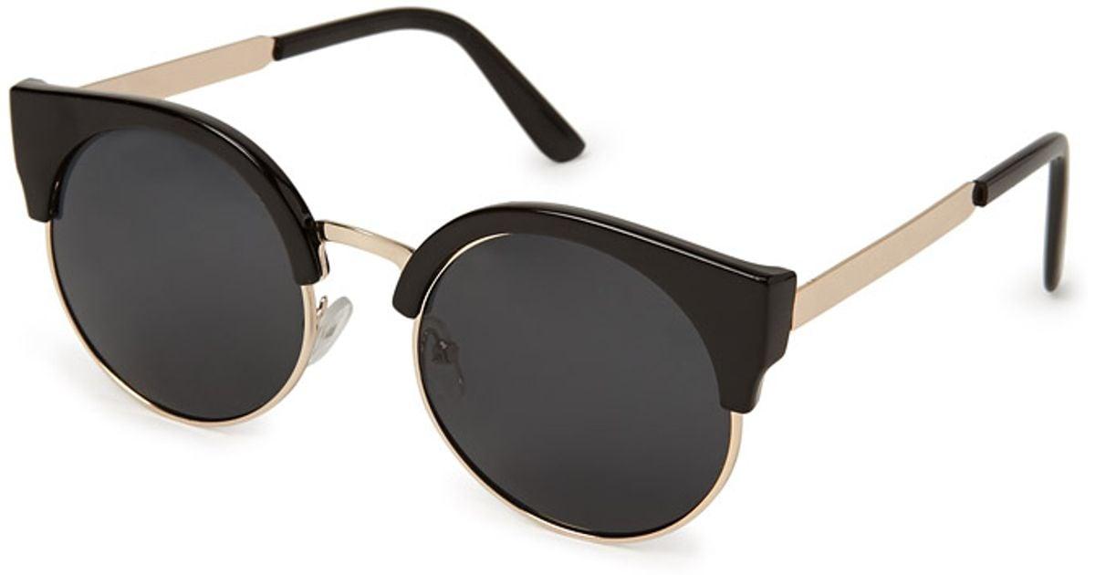 e477f12a4e Forever 21 Chic Cateye Sunglasses in Black - Lyst