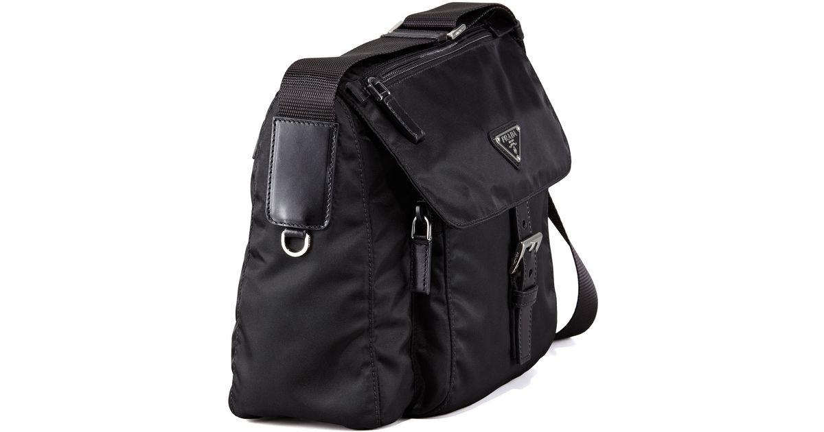 abf6f9dac965 ... low price lyst prada vela flap front messenger bag in black 82043 8cc0b