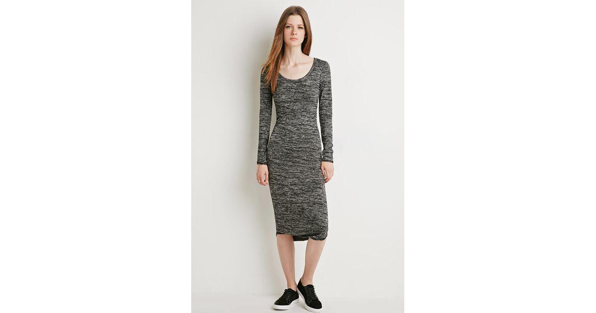 e068bc082636 Lyst - Forever 21 Marled Midi Dress in Black