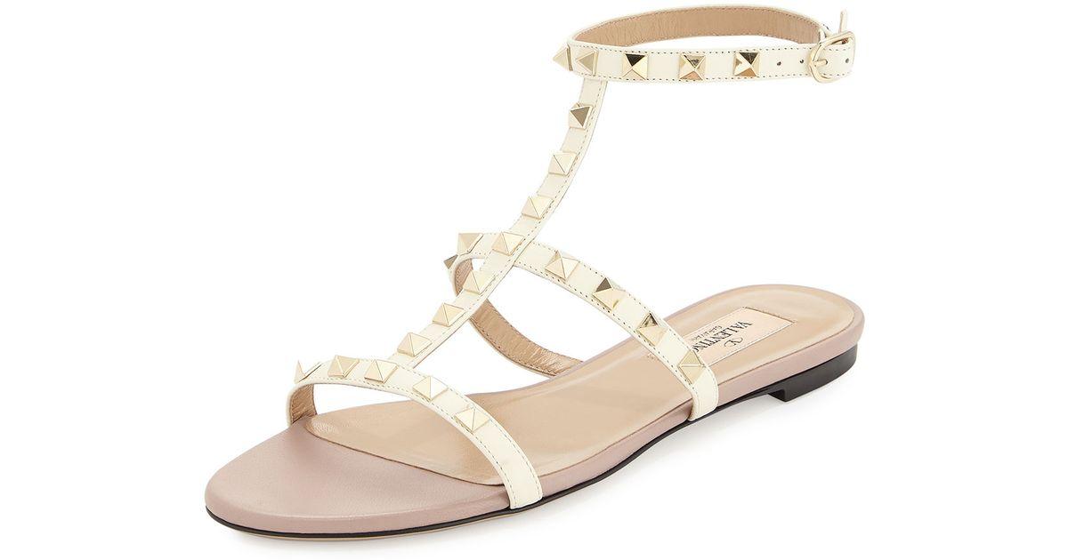 Valentino Rockstud Ankle-Strap Flat
