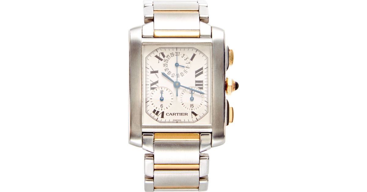 2286761fa066 Lyst - Portero Vintage Cartier Stainless Steel and 18k Yellow Gold  Chronoflex Tank Francaise Watch From in Metallic