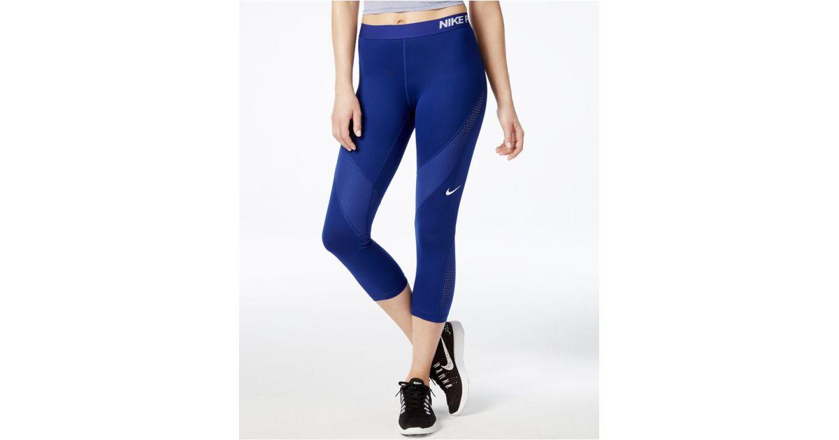 5ce3ce8d86 Nike Blue Pro Hypercool Dri-fit Capri Leggings