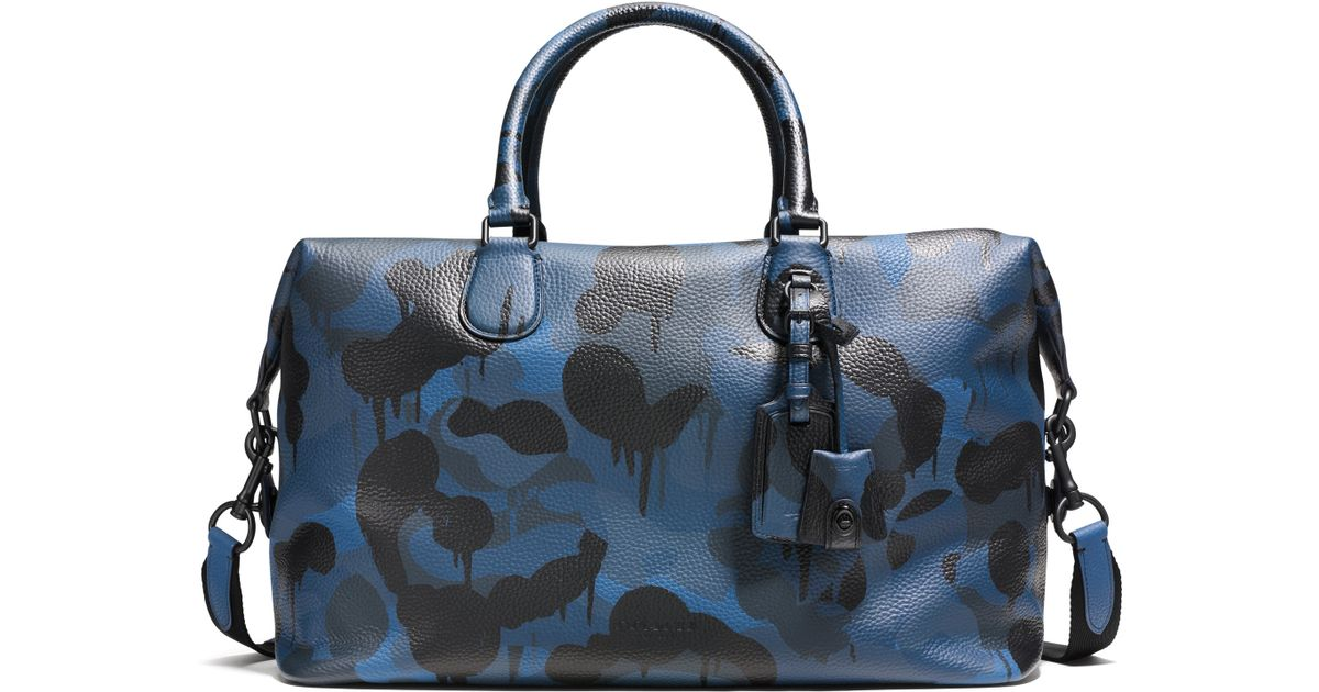 Lyst - COACH Explorer Camo-print Leather Duffle Bag in Blue 360d0ca6d2c