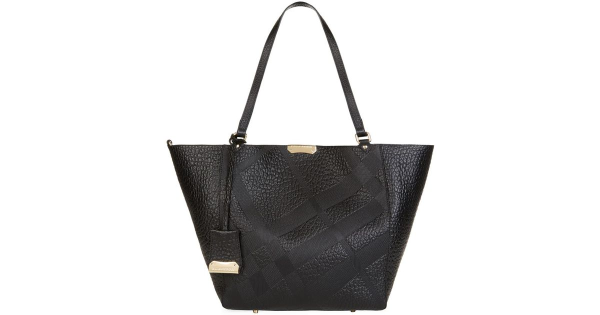 burberry small embossed check leather canter bag in black lyst check small