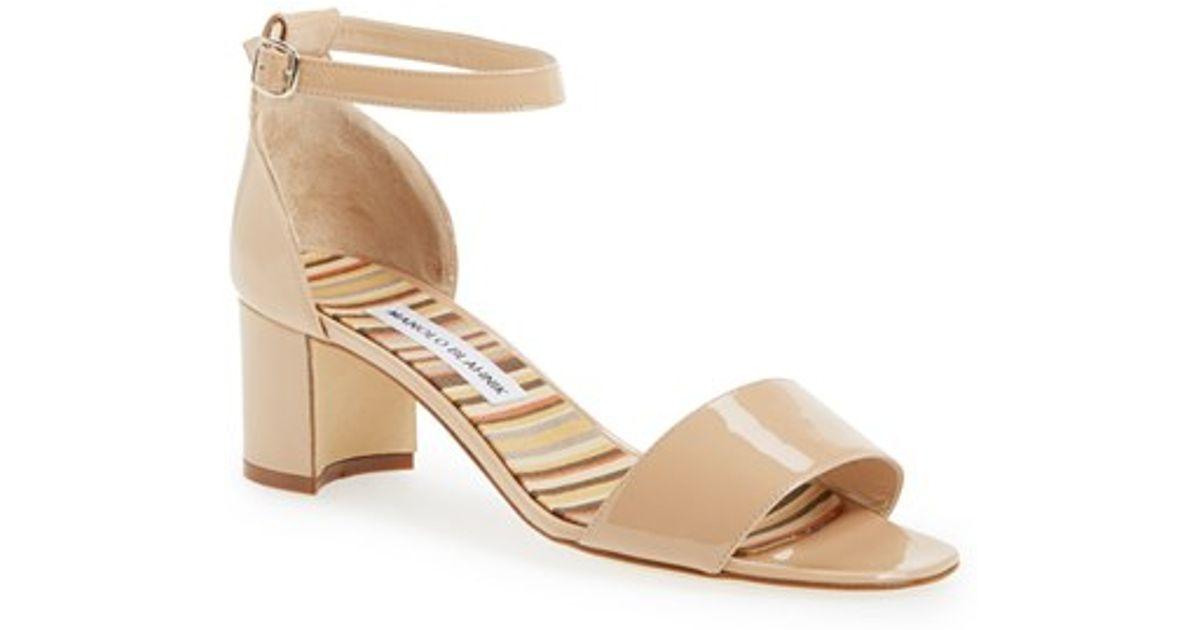 8623a2c85bd5 Lyst - Manolo Blahnik  lauratomod  Ankle Strap Sandal in Natural