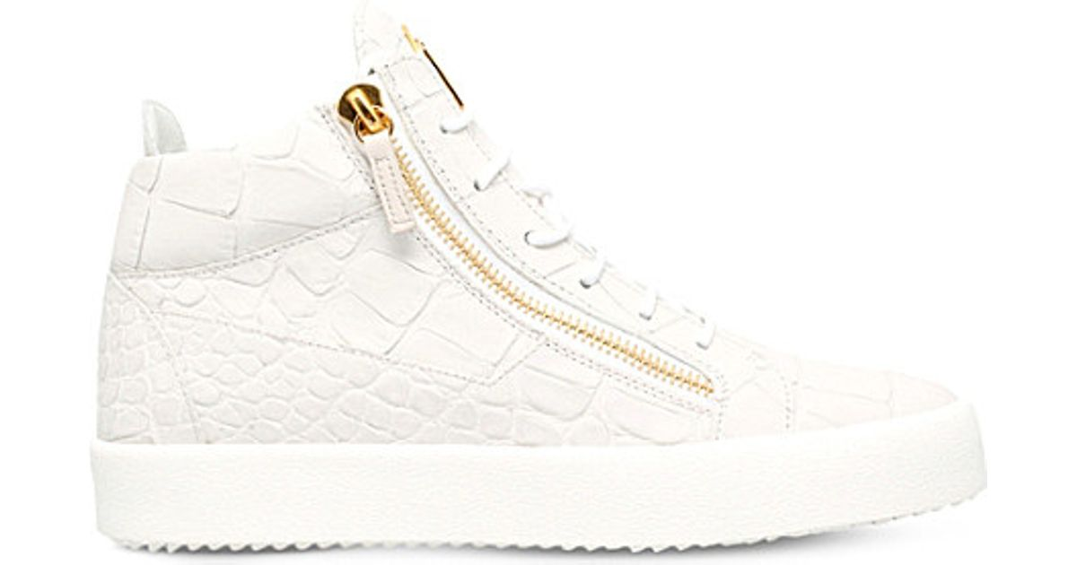 a0304bfc7a7b2 Giuseppe Zanotti Daniel Mock-croc Leather Mid-top Trainers in White for Men  - Lyst