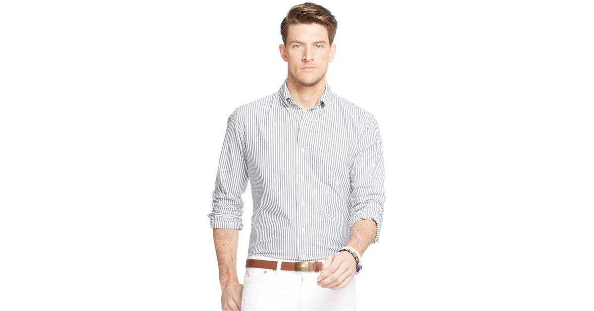 Polo ralph lauren men 39 s big and tall striped oxford shirt for Big and tall oxford shirts
