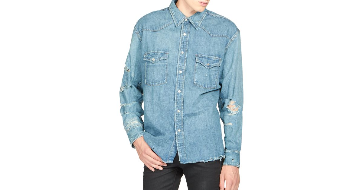 Saint Laurent Distressed Denim Shirt In Blue For Men