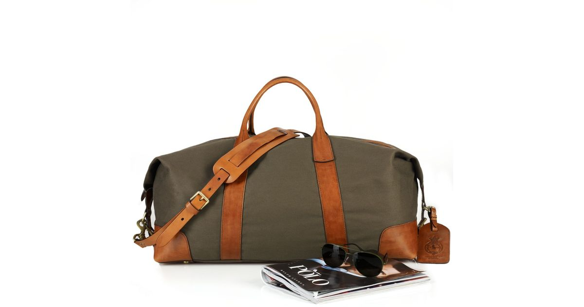 7f022ea403bf Lyst - Polo Ralph Lauren Canvas   Leather Duffel Bag in Green for Men