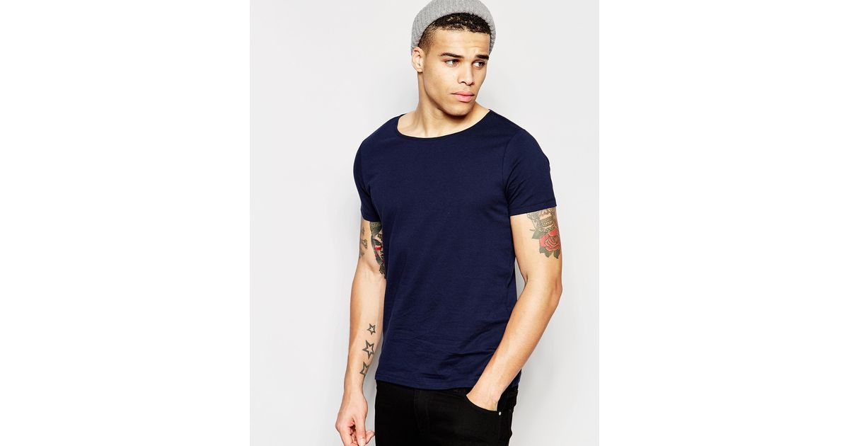 Asos T Shirt With Boat Neck In Navy In Blue For Men Lyst