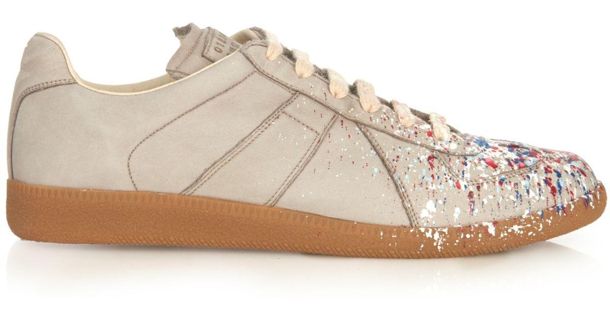Maison MargielaGrey Paint Splatter Replica sneakers