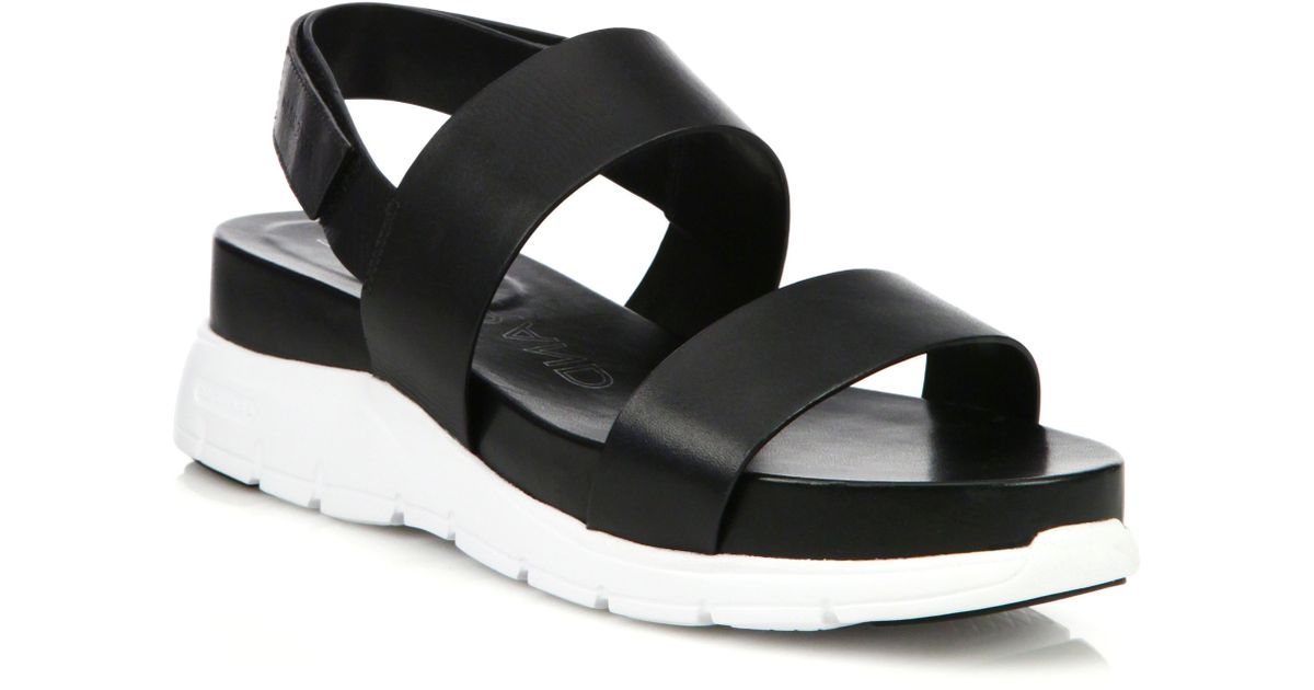 ac31a526163 Lyst - Cole Haan Zerogrand Leather Platform Slingback Sandals in Black