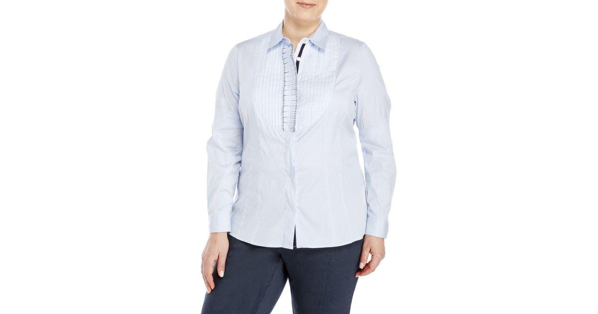 Marina sport by marina rinaldi plus size striped shirt for Plus size light blue shirt
