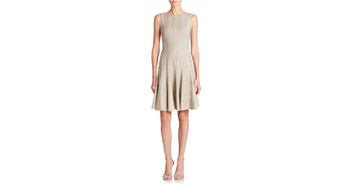 Ralph Lauren Black Label Tammie Suede Striped Wool Dress