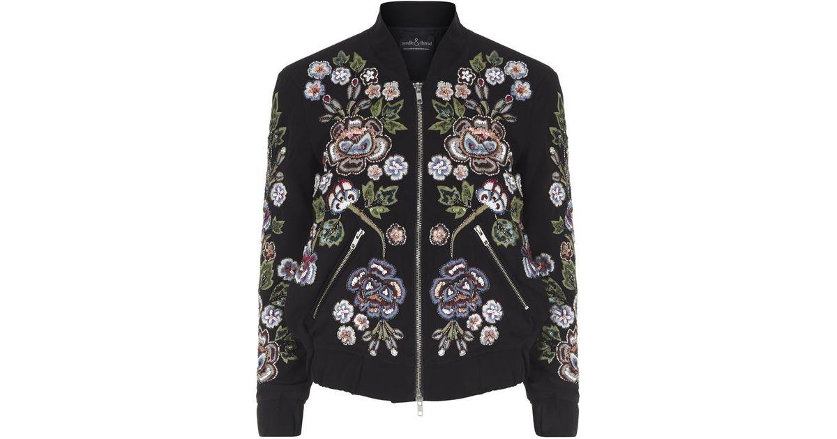 0bbe45344 Needle & Thread Black Rose Scatter Embellished Bomber Jacket