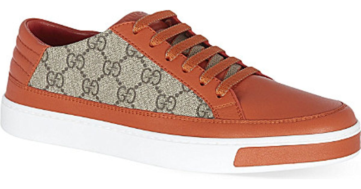 311e41eb5 Gucci Logo Patterned Leather Trainers, Men's, Size: Eur 44 / 10 Uk Men,  Orange in Orange for Men - Lyst