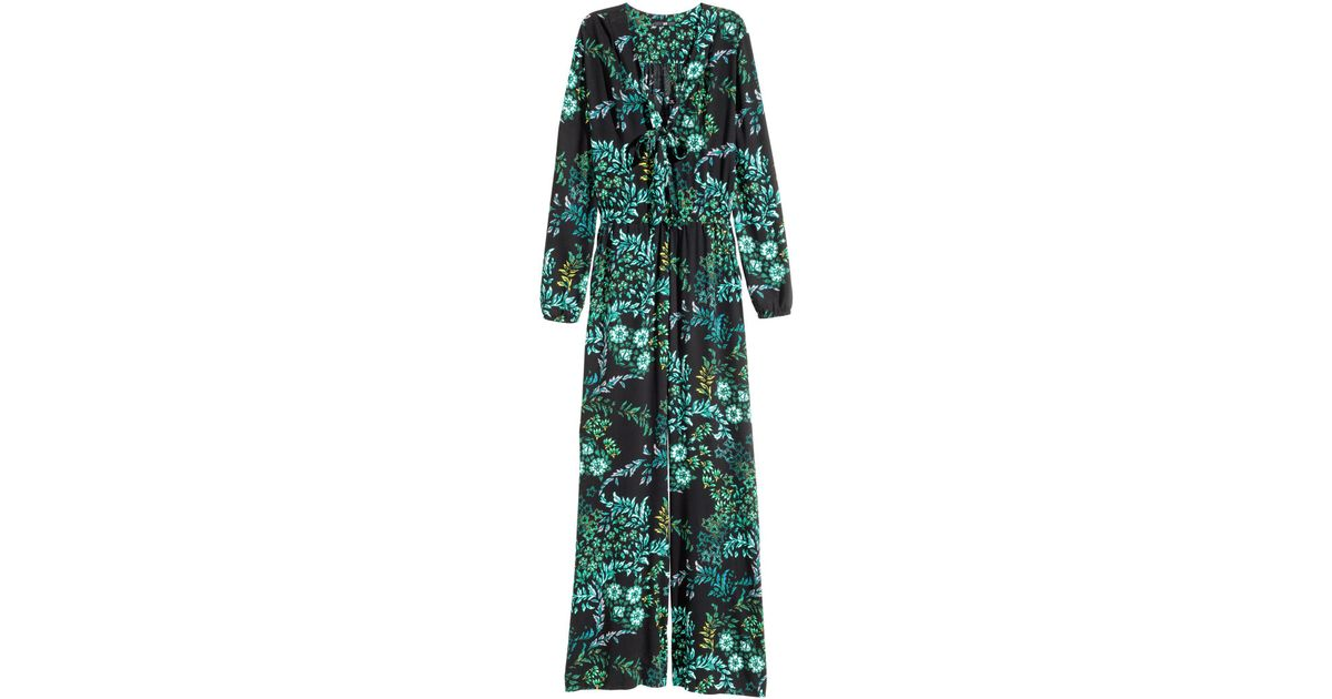 9c8d3a2fa0 Lyst - H M Patterned Jumpsuit in Green