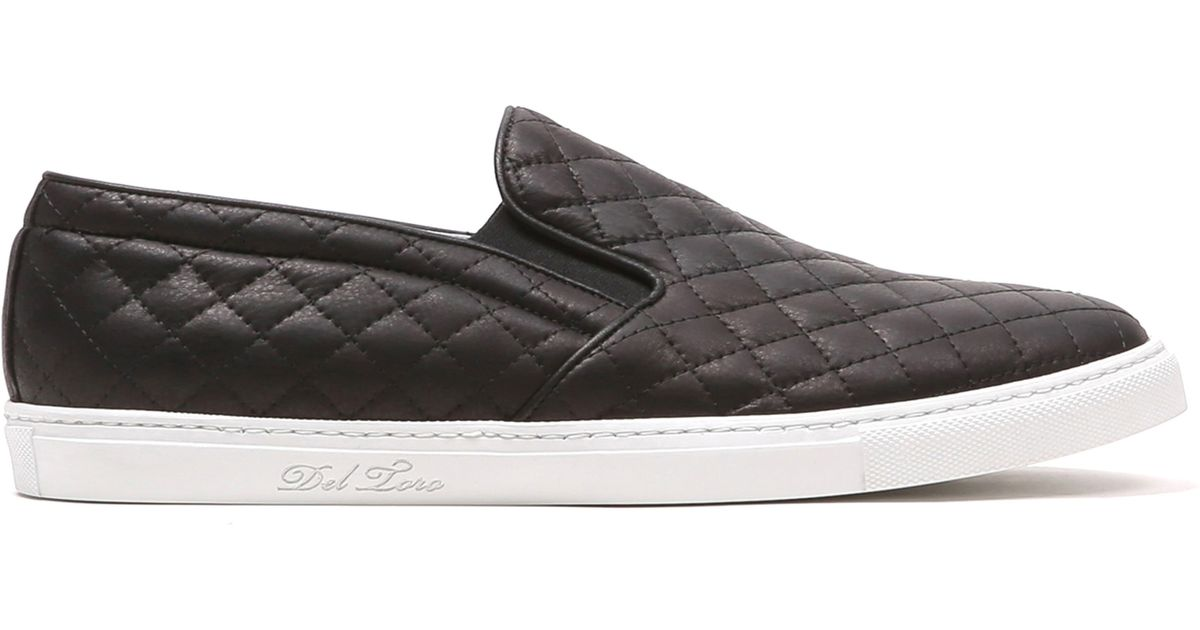 Del Toro Black Quilted Leather Slip On