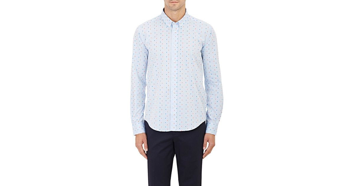 Barneys new york men s embroidered oxford shirt in blue