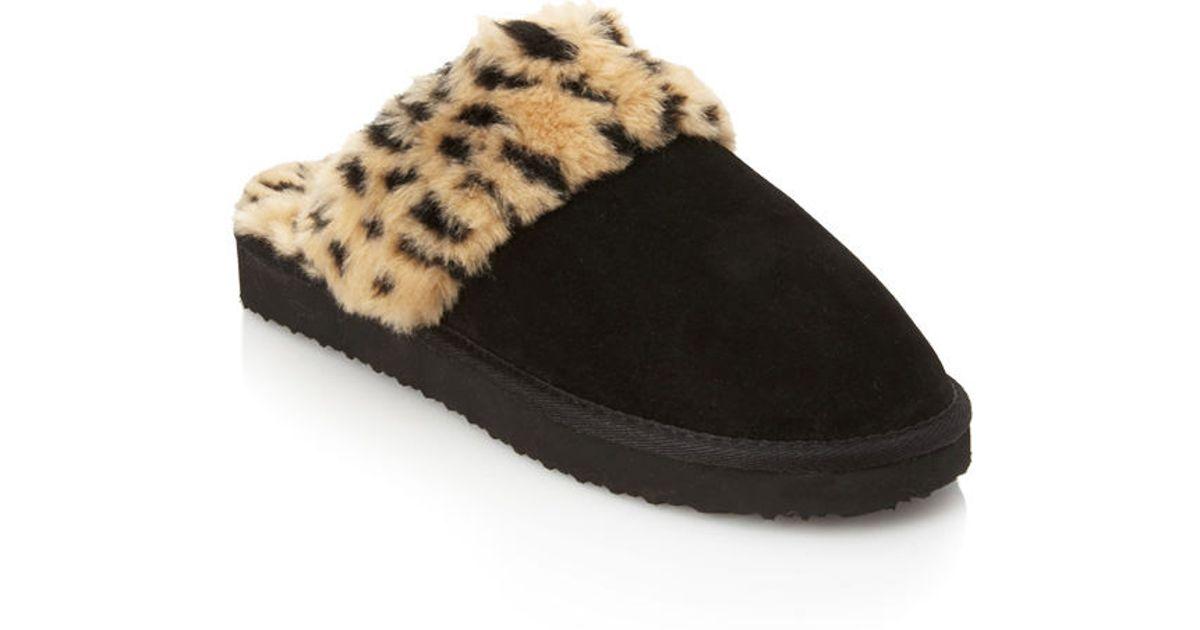 9fda60581 Forever 21 Cheetah Print Faux Fur Slippers in Black - Lyst