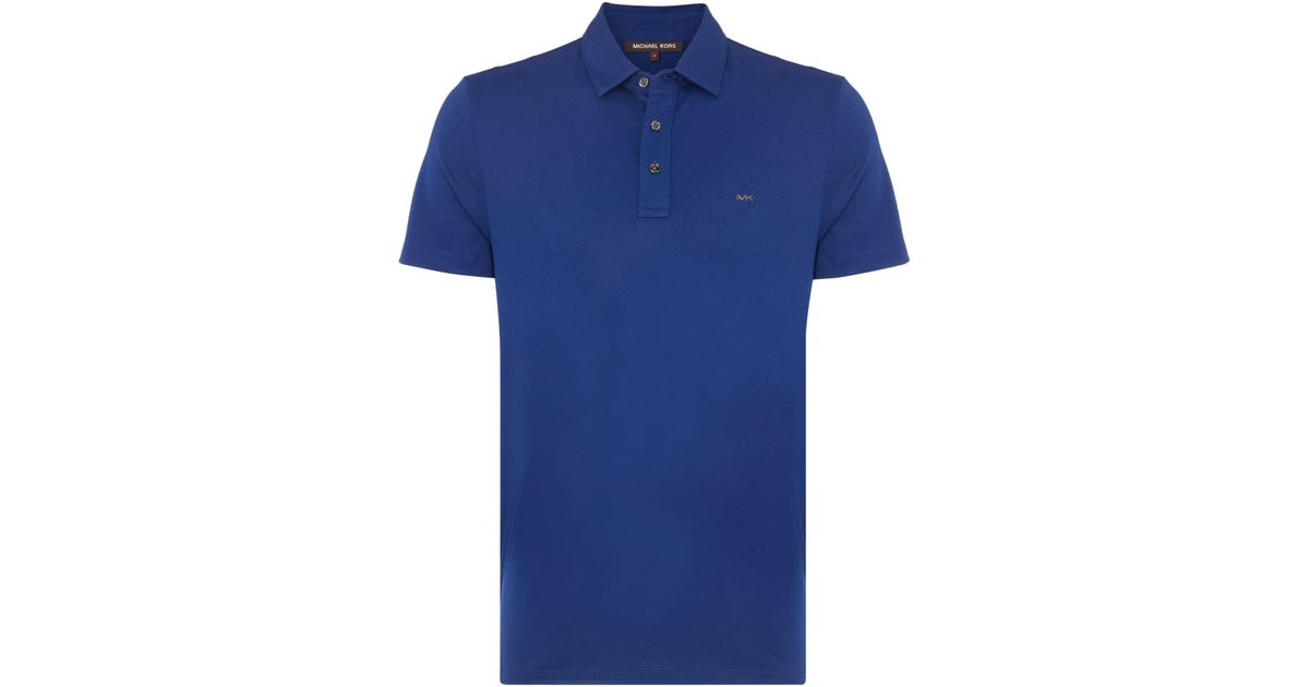 Michael kors slim fit sleek mk logo polo shirt in blue for for Work polo shirts with logo