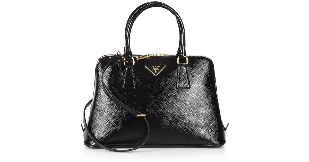 6fe8efd1 Prada Black Saffiano Vernice Small Promenade Bag