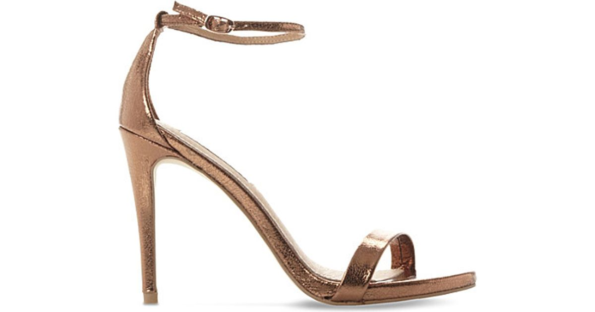 4dc30bb17f4 Steve Madden Stecy Metallic Leather Heeled Sandals