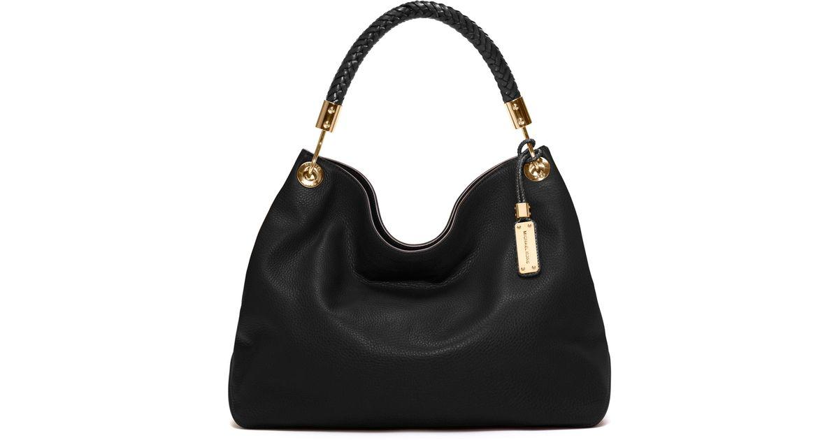 697fd0490e1d90 Lyst - Michael Kors Large Skorpios Leather Shoulder Bag in Black