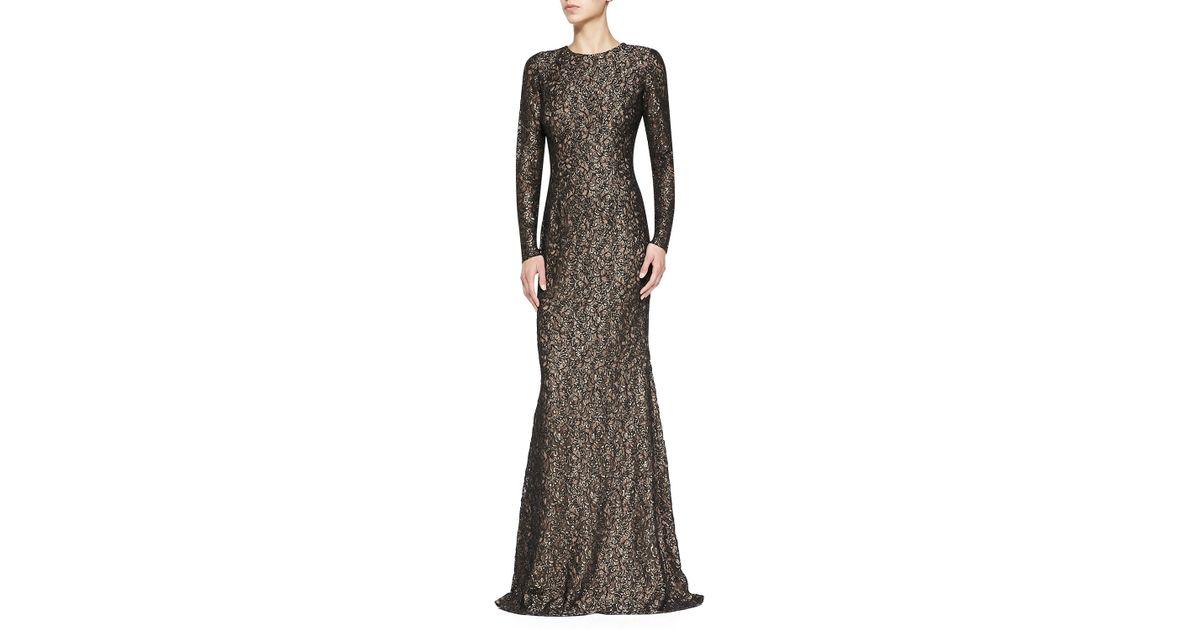 Lyst - Carmen Marc Valvo Long-Sleeve Lace Gown in Metallic