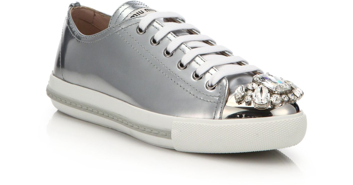 branded metallic sneakers Miu Miu