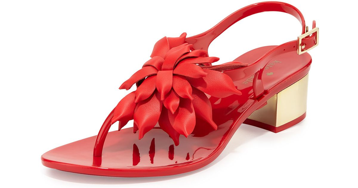 Kate Spade Davina Floral Detail Sandals In Red Lyst