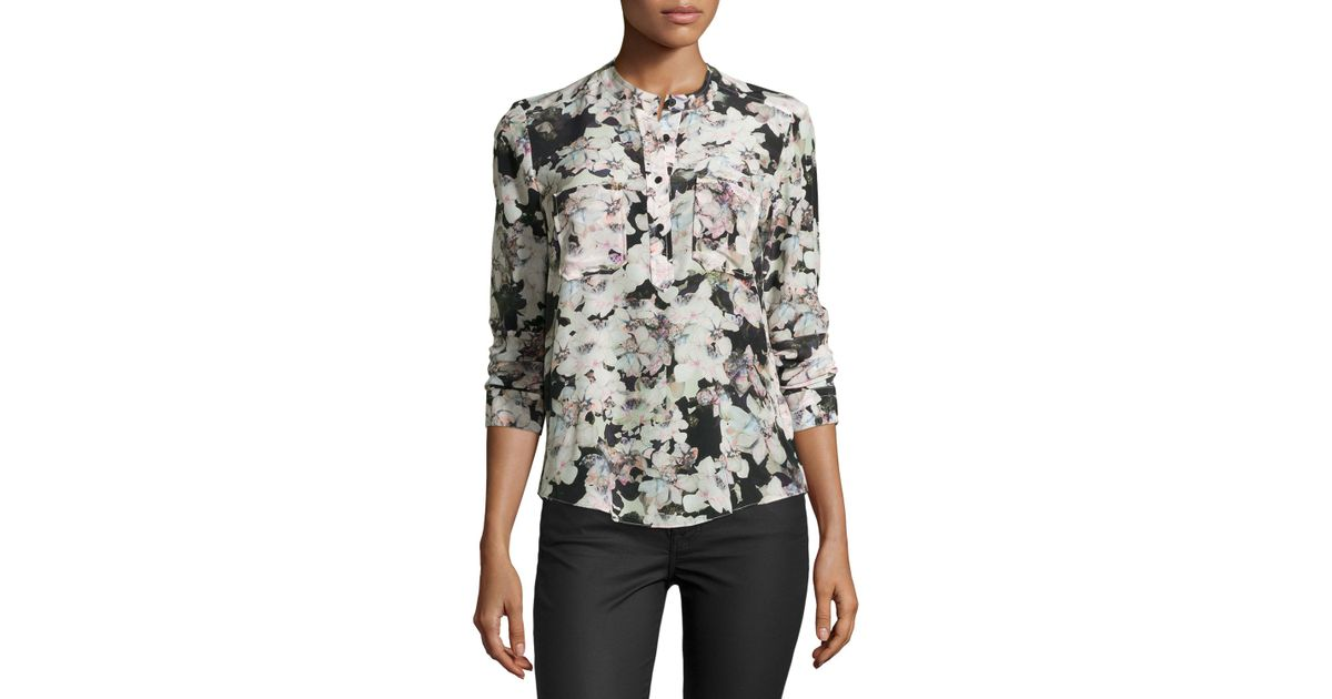 0ade3d5f2be7 Lyst - Rebecca Taylor Long-sleeve Floral-print Silk Blouse in Black