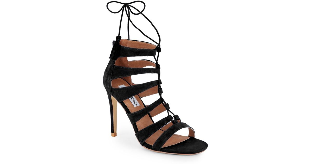 7881a37eb Steve Madden Black Faraah Suede Strappy Open-toe Sandals