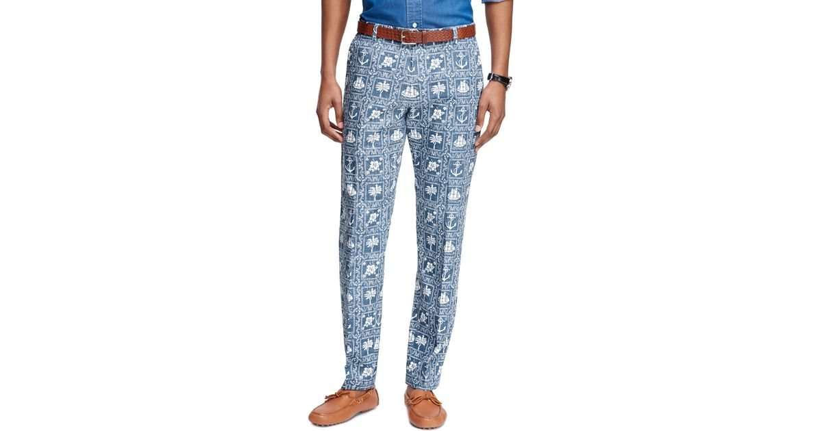 Brooks brothers Milano Fit Nautical Print Pants in Blue ...