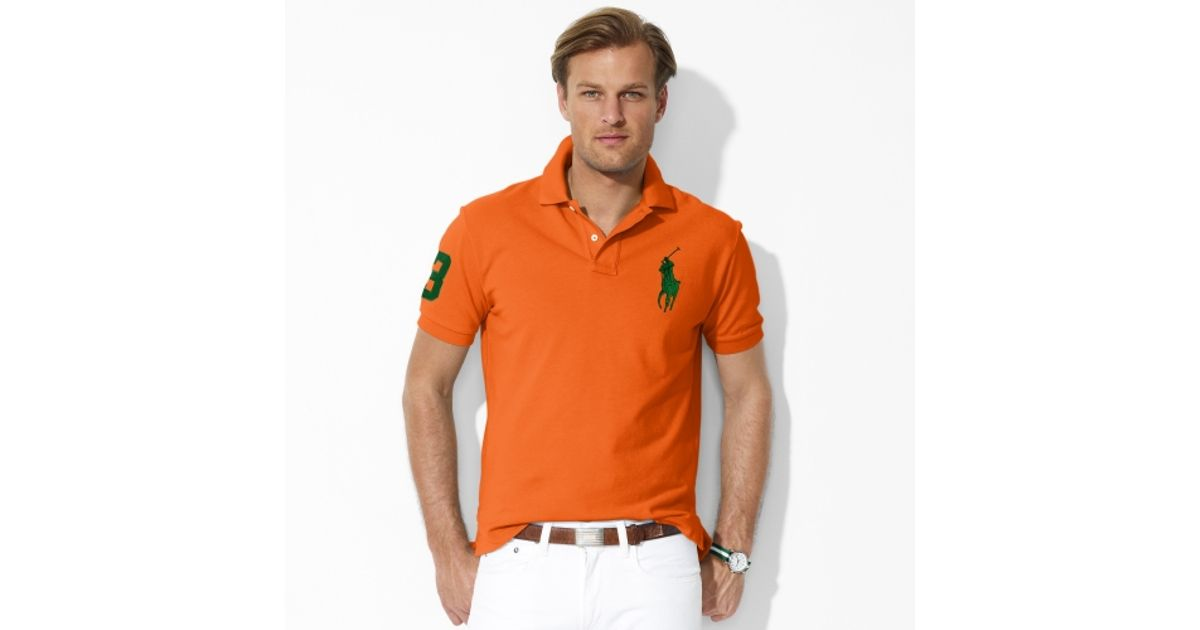 Ralph Lauren Men's Orange Big Pony Green Polo