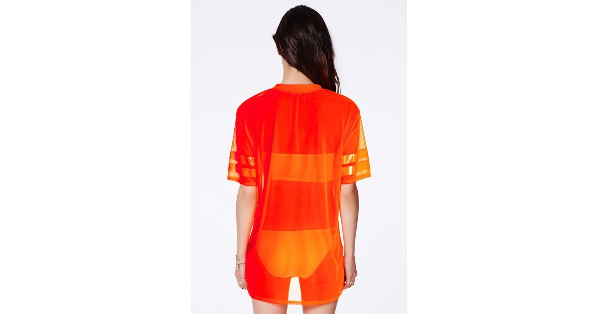 Missguided Hugette Neon Orange American Football Mesh T-Shirt in Orange -  Lyst 3f3b8a0bb