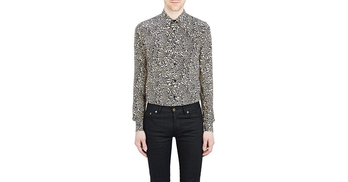 8268ad8171 Saint Laurent Natural Leopard-print Shirt for men