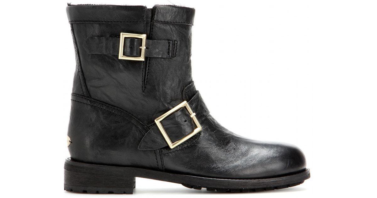 f75ee6545003 Lyst - Jimmy Choo Youth Fur-lined Biker Boots in Black