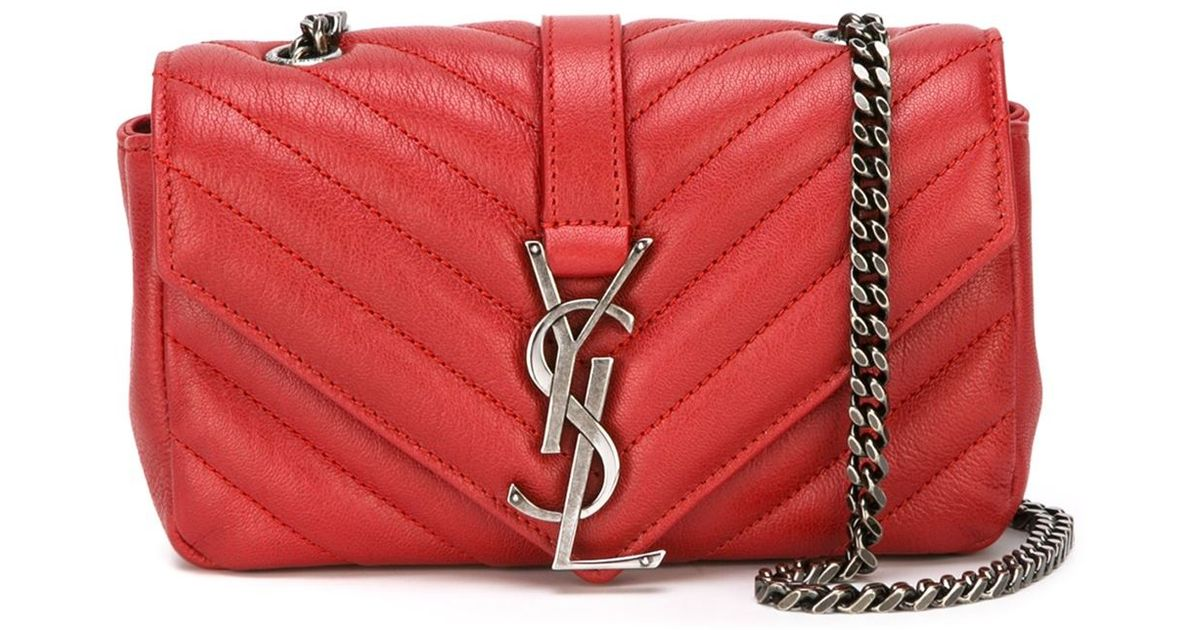Saint laurent Baby \u0026#39;Monogram\u0026#39; Satchel in Red | Lyst