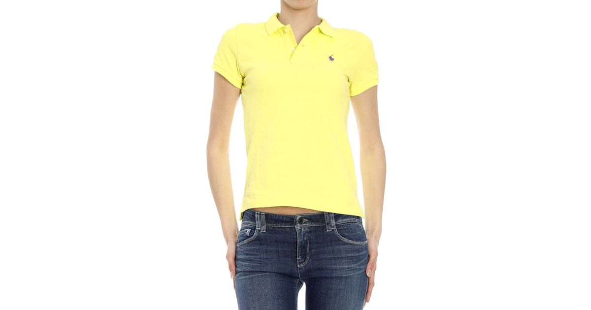 polo ralph lauren t shirt in yellow giallo save 30 lyst. Black Bedroom Furniture Sets. Home Design Ideas