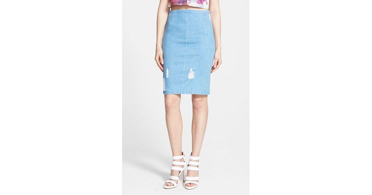 ripped denim pencil skirt in blue lyst