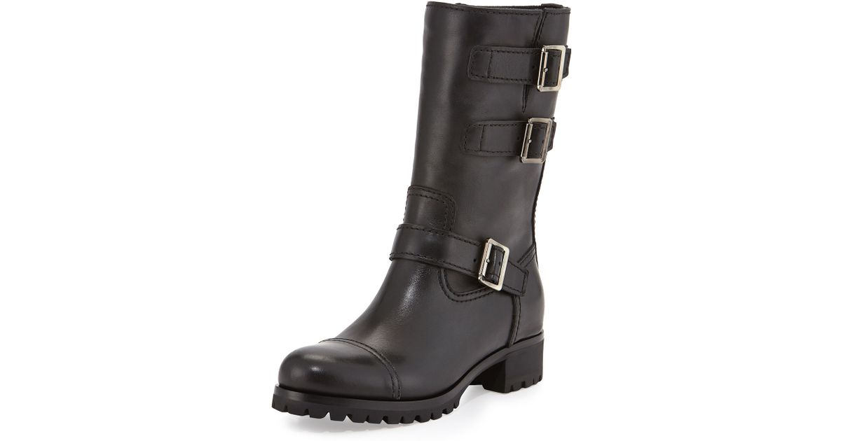 366f7061c94 Prada Black Short Triple-Buckle Leather Moto Boot